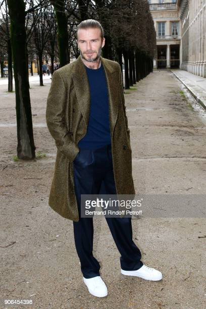 David Beckham attends the Louis Vuitton Menswear Fall/Winter 20182019 show as part of Paris Fashion Week on January 18 2018 in Paris France
