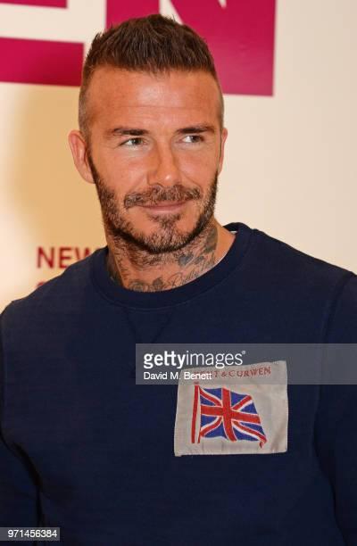 David Beckham attends the NEWGEN LFWM June 2018 Breakfast during London Fashion Week Men's June 2018 at the BFC Designer Showrooms on June 11, 2018...