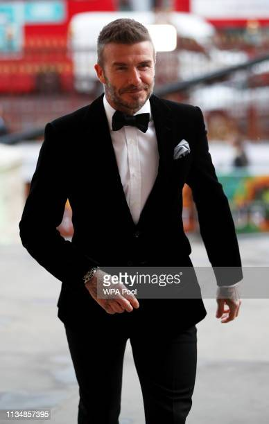 David Beckham attends the Our Planet global premiere at Natural History Museum on April 4 2019 in London England