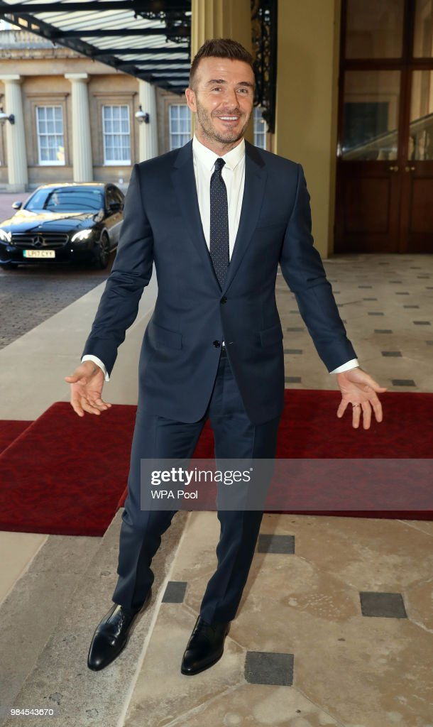 David Beckham attends the Queen's Young Leaders Award Ceremony as Queen Elizabeth II accompanied by Prince Harry, Duke of Sussex and Meghan, Duchess of Sussex host a reception at Buckingham Palace to present awards to the Queen's Young Leaders for 2018 at Buckingham Palace on June 26, 2018 in London, England. Among the guests at the reception are the Chairman of The Queen Elizabeth Diamond Jubilee Trust, Sir John Major, Sir Lenny Henry, David Beckham, Nicola Adams, Casper Lee, Neelam Gill, Ore Oduda and Tina Daheley.