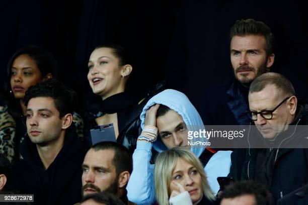 David Beckham Bella Hadid Anwar Hadid during the UEFA Champions League round of 16 2nd leg football match between Paris SaintGermain FC and Real...