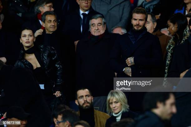 David Beckham Bella Hadid Anwar Hadid Edward Philippe and Nicolas Sarkozy and Robin Wright during the UEFA Champions League round of 16 2nd leg...
