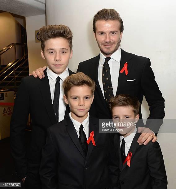 David Beckham Brooklyn Beckham Romeo Beckham and Cruz Beckham attend the World premiere of 'The Class of 92' at Odeon West End on December 1 2013 in...