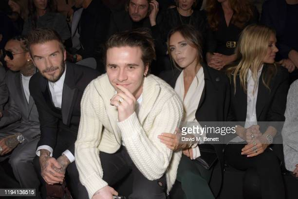 David Beckham Brooklyn Beckham Victoria Beckham and Kate Moss attend the Dior Homme Menswear Fall/Winter 20202021 show as part of Paris Fashion Week...
