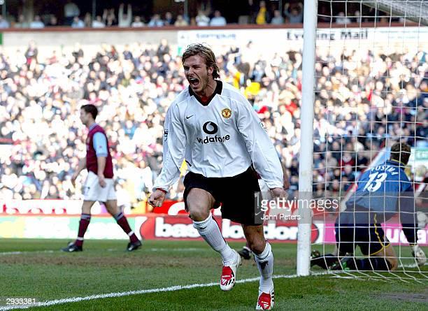 David Beckham celebrates his goal against Aston Villa during the FA Barclaycard Premiership match between Aston Villa v Manchester United at Villa...