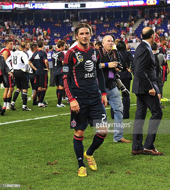 David Beckham competes in the 2011 MLS AllStars vs Manchester United game at Red Bull Arena on July 27 2011 in Harrison New Jersey