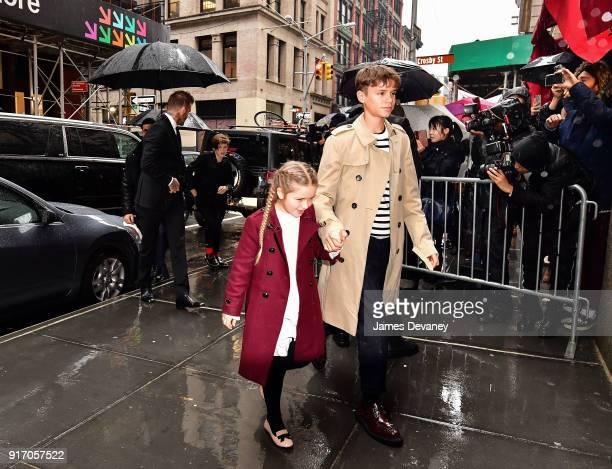 David Beckham Cruz Beckham Harper Beckham and Romeo Beckham arrive to Balthazar on February 11 2018 in New York City