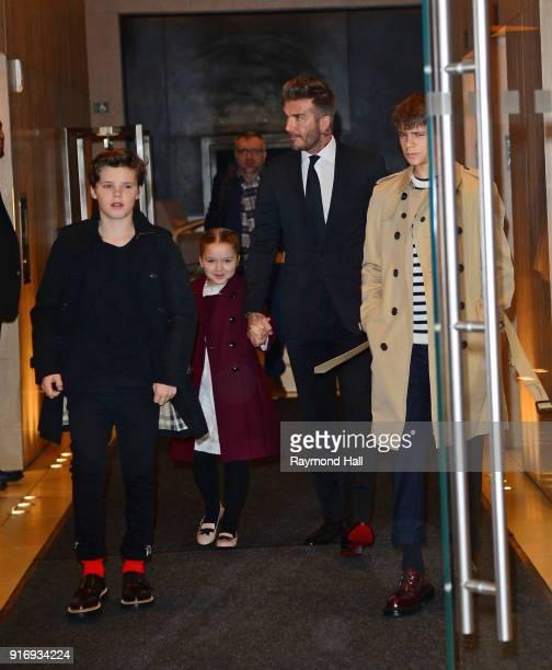 David Beckham Cruz Beckham Harper Beckham Romeo Beckham are seen leaving a hotel in midtown on February 11 2018 in New York City