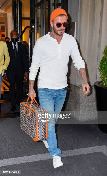 David Beckham departs his hotel on May 26, 2021 in New York City.