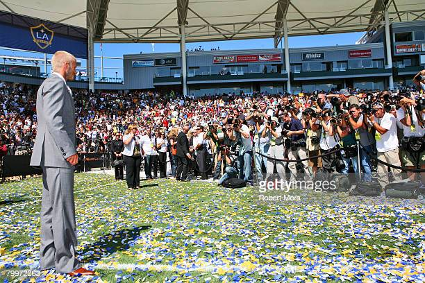 David Beckham during a press conference introducing him as the newest member of the Los Angeles Galaxy on July 13, 2007 at the Home Depot Center in...