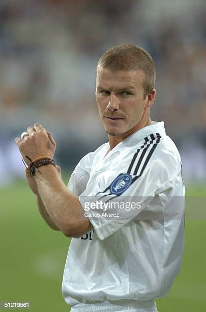 David Beckham during the UEFA Champions League Qualifying match between Real Madrid and Wisla Krakow at The Bernabeu on August 25 2004 in Madrid Spain