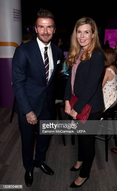 David Beckham, Former England footballer, and Carrie Johnson, Wife of England Prime Minister Boris Johnson pose for a photograph prior to the UEFA...