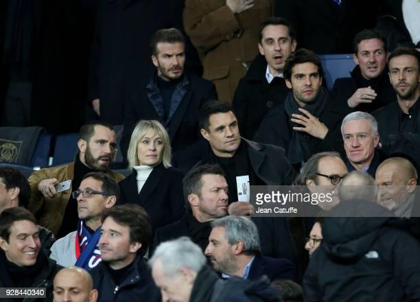 David Beckham Gary Neville below Ricardo Kaka below Robin Wright and Clement Giraudet Dan Carter Didier Deschamps below Lothar Matthaus attend the...