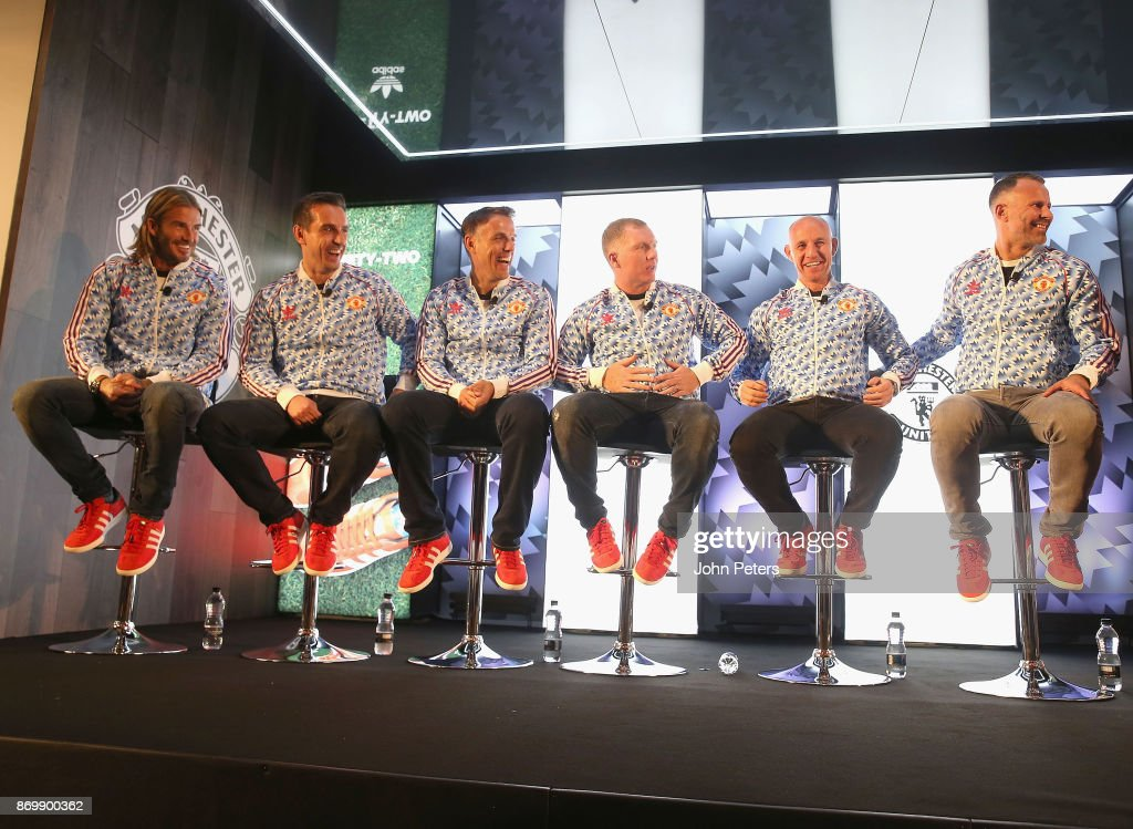 David Beckham, Gary Neville, Phil Neville, Paul Scholes, Nicky Butt and Ryan Giggs speak at the launch of the Adidas '92' trainer at Old Trafford on November 3, 2017 in Manchester, England.
