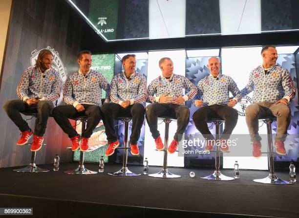 David Beckham Gary Neville Phil Neville Paul Scholes Nicky Butt and Ryan Giggs speak at the launch of the Adidas 92 trainer at Old Trafford on...
