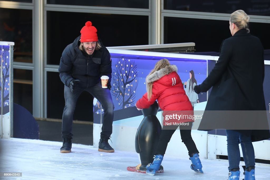 Beckham Family At The NHM Ice Rink Sighting -  December 09, 2017