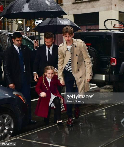 David Beckham Harper Beckham and Romeo Beckham arrive to Balthazar on February 11 2018 in New York City