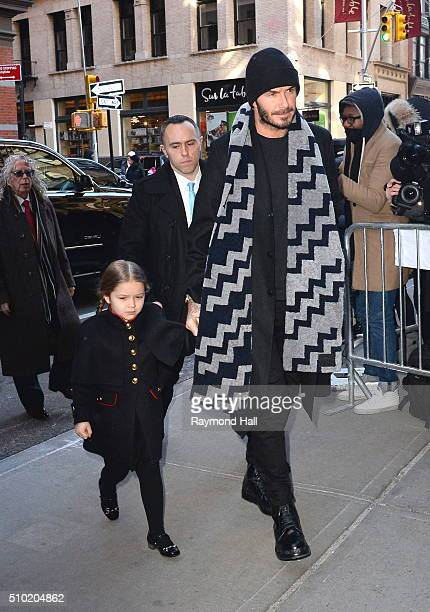 David Beckham Harper Beckham are seen arriving at 'Balthazar Restaurant in Soho'on February 14 2016 in New York City