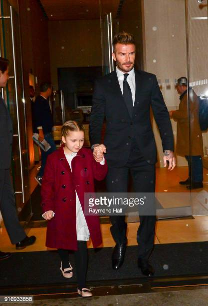 David Beckham Harper Beckham are seen leaving a hotel in midtown on February 11 2018 in New York City