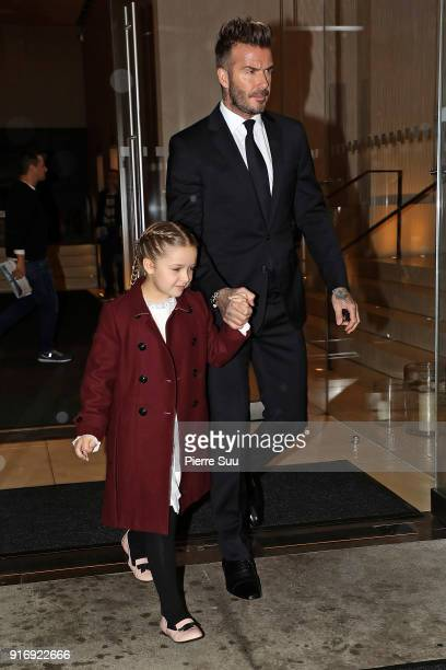 David Beckham his daughter Harper leave their hotel to attend the Victoria Beckham show on February 11 2018 in New York City