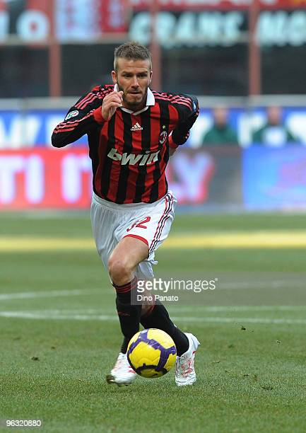 David Beckham in action during the Serie A match between AC Milan and Livorno at Stadio Giuseppe Meazza on January 31, 2010 in Milan, Italy.