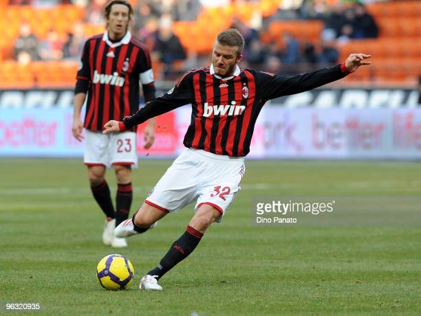 David Beckham in action during the Serie A match between AC Milan and Livorno at Stadio Giuseppe Meazza on January 31 2010 in Milan Italy
