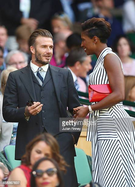 David Beckham in conversation with Denise Lewis in centre court on day six of the Wimbledon Lawn Tennis Championships at the All England Lawn Tennis...