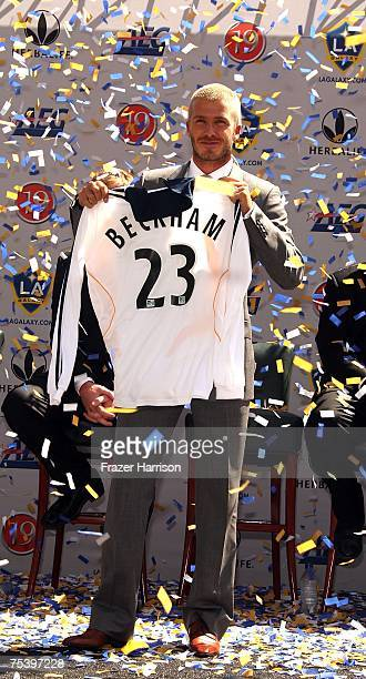 David Beckham is offcially announced as a LA Galaxy Player at the Home depot Stradium on July 132007 in Carson California