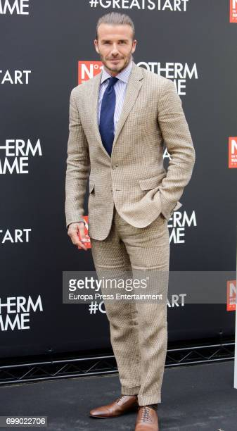 David Beckham is presented as image for Biotherm Homme at Casa Velazquez on June 20 2017 in Madrid Spain