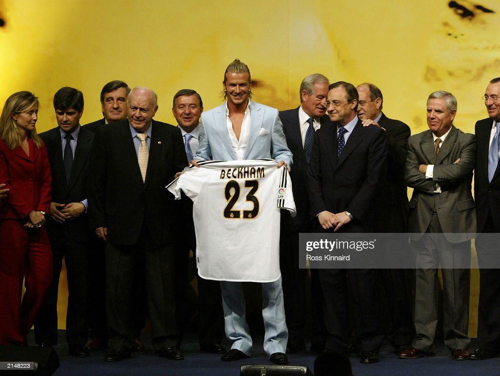 David Beckham is presented to the press at the Real Madrid press conference announcing his signing to Real Madrid on July 2, 2003 at the Pabellon Raimundo Saporta, in Madrid, Spain.