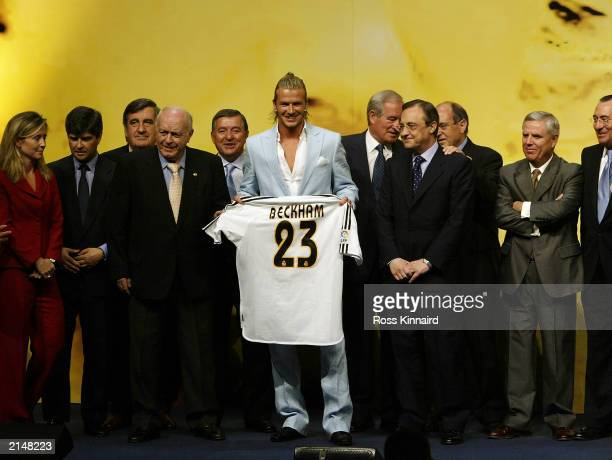 David Beckham is presented to the press at the Real Madrid press conference announcing his signing to Real Madrid on July 2, 2003 at the Pabellon...