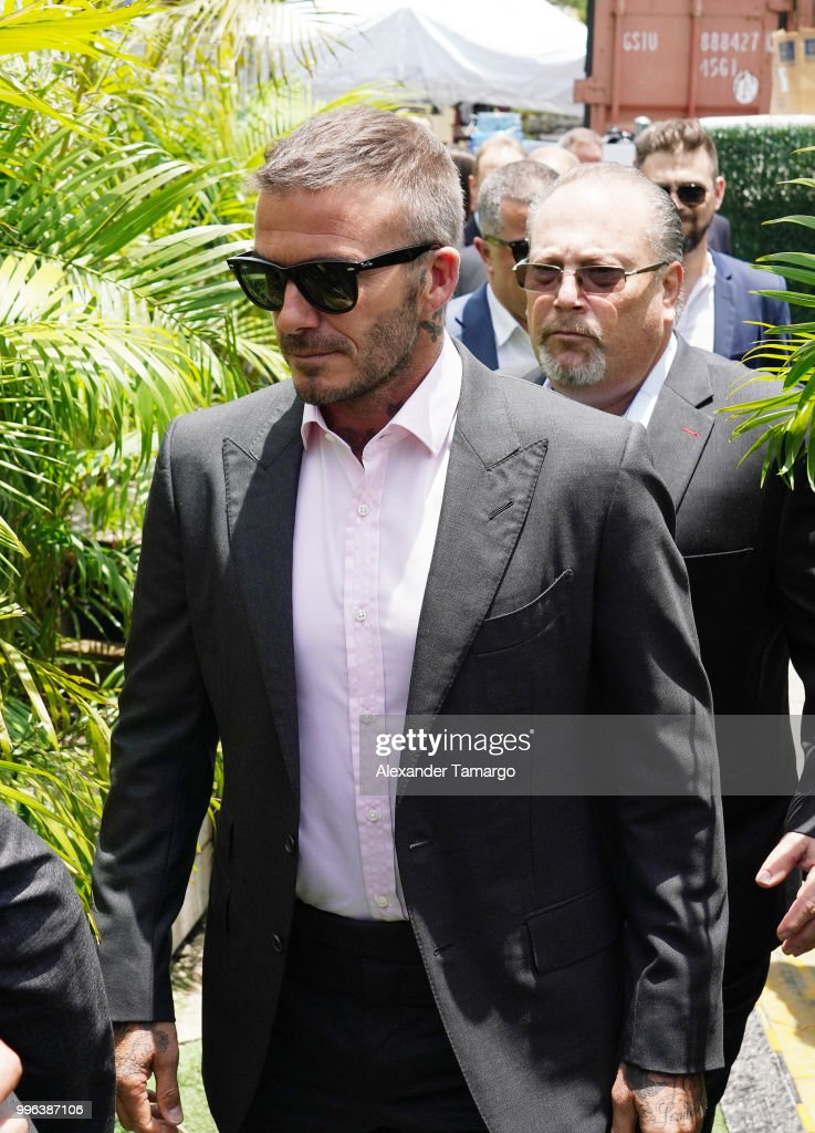 David Beckham is seen arriving at an England vs Croatia World Cup semi-finals match watch party on July 11, 2018 in Miami, Florida.