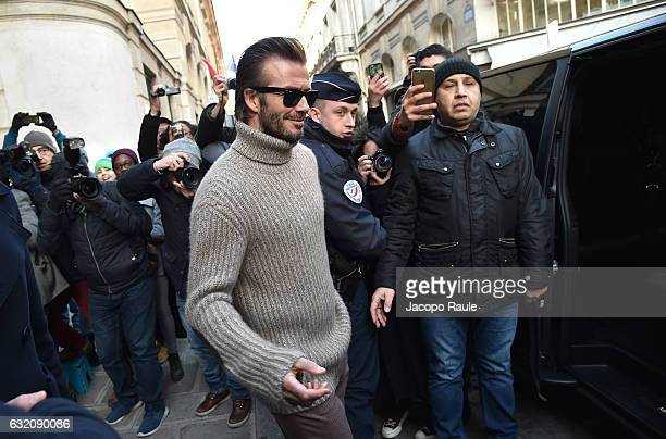 David Beckham is seen arriving at Louis Vuitton Fashion Show during Paris Fashion Week Menswear Fall/Winter 2017/2018 on January 19 2017 in Paris...