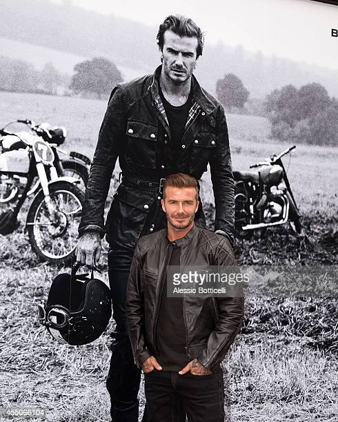 David Beckham is seen making an appearance at Belstaff store on Madison Avenue on September 9 2014 in New York City