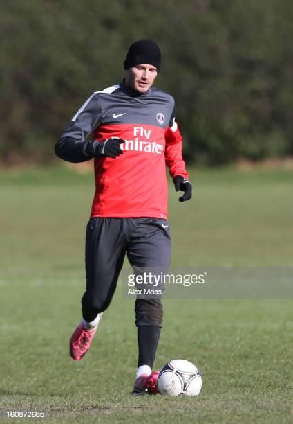 David Beckham is seen training in his Paris Saint Germain kit on February 7 2013 in London England