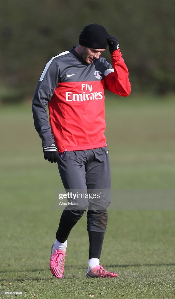 David Beckham is seen training in his Paris Saint Germain kit on February 7, 2013 in London, England.