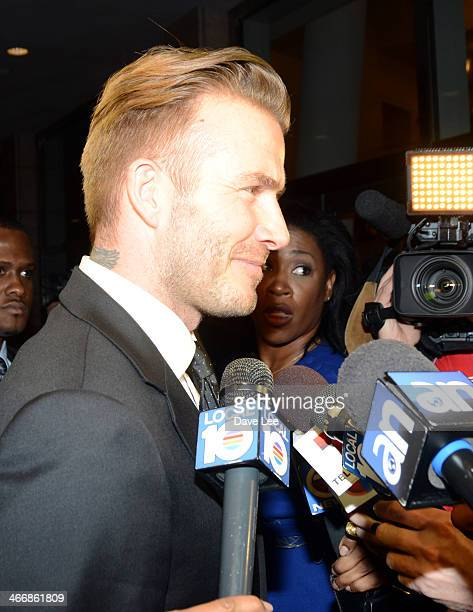David Beckham is sighted arriving to the James L Knight Center in Miami Florida on February 4 2014 in Miami Beach Florida