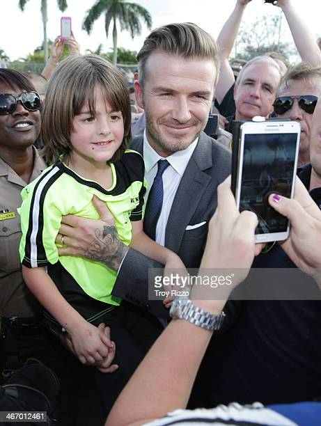 David Beckham is sighted at Kendall Soccer Park during a meet and greet with youth soccer players on February 5 2014 in Miami Beach Florida