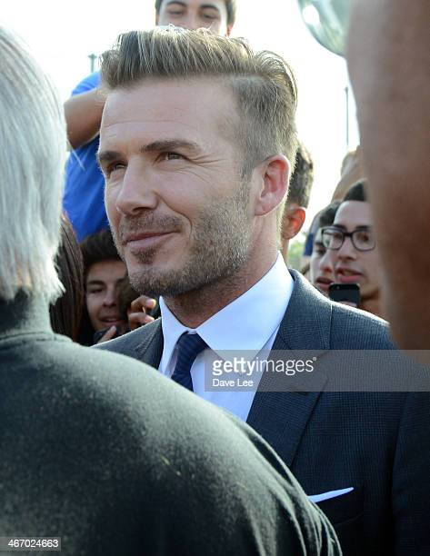 David Beckham is sighted trying to meet with young soccer players in Miami Florida on February 5 2014 in Miami Beach Florida