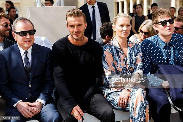 David Beckham Kate Moss and Nikolai Von Bismarck attend the Louis Vuitton Menswear Spring/Summer 2017 show as part of Paris Fashion Week on June 23...