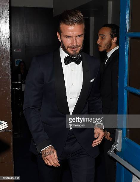 David Beckham leaves The Grosvenor Hotel Bafta after show party on February 8 2015 in London England