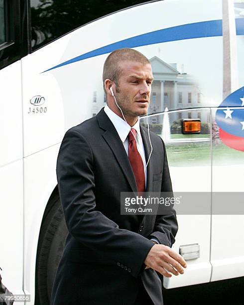 David Beckham leaves the team bus to enter the stadium DC United beat the Los Angeles Galaxy 10 at soldout RFK stadium in Washington DC on August 9...