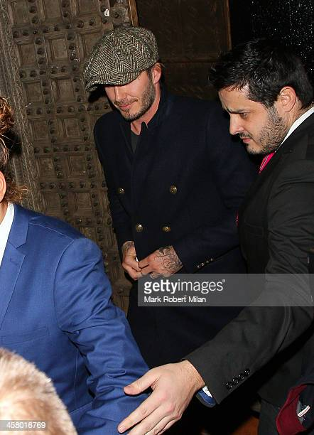 David Beckham leaving Chakana night club on December 19 2013 in London England