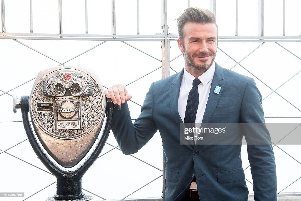 David Beckham lights The Empire State Building blue in honor of UNICEF's 70th anniversary at The Empire State Building on December 12, 2016 in New York City.