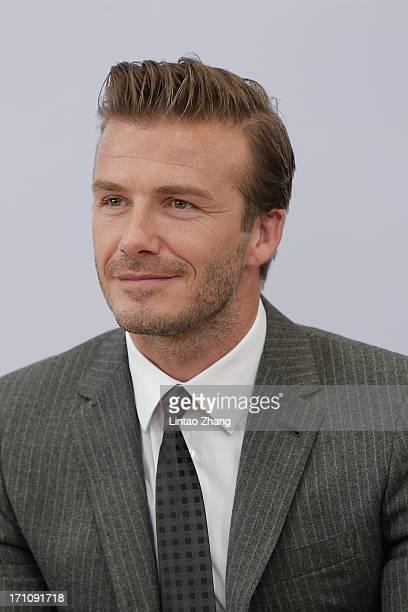 David Beckham looks on during his visit to Hangzhou Greentown club on June 22, 2013 in Hangzhou, China.