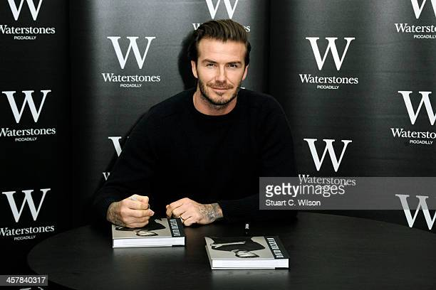 David Beckham meets fans and signs copies of his new self titled book at Waterstone's, Piccadilly on December 19, 2013 in London, England.