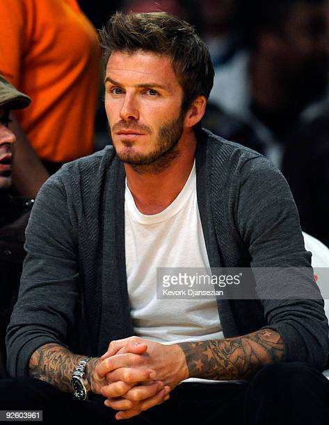 David Beckham midfielder of the Los Angeles Galaxy MLS soccer team attends the Los Angeles Lakers and Atlanta Hawks NBA basketball game at Staples...