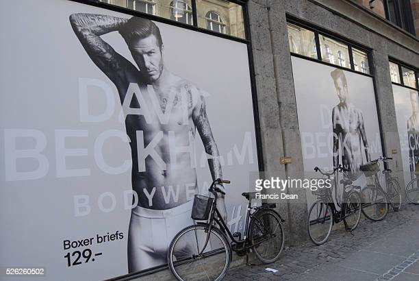 David Beckham model body wear for H&M billboad at H&M store 3 Febuary 2012