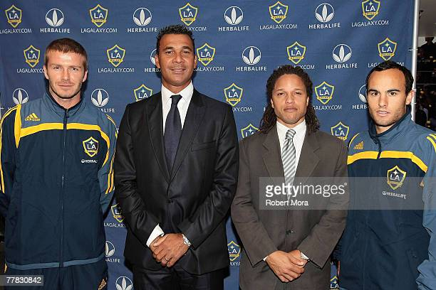 David Beckham, New Head Coach Ruud Gullit, Assistant Coach Cobi Jones, and Landon Donovan of the Los Angeles Galaxy prior to a press conference at...