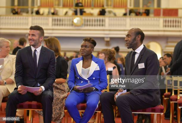 David Beckham Nicola Adams and Sir Lenny Henry at the Queen's Young Leaders Awards Ceremony at Buckingham Palace on June 26 2018 in London England...